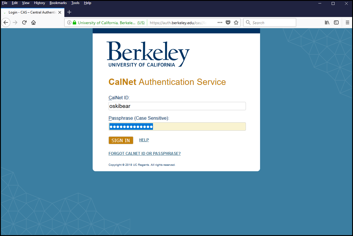 Sign in using your CalNet ID and Passphrase