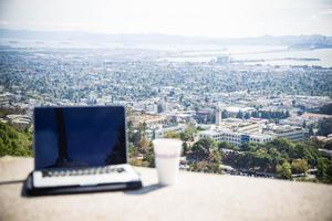 Laptop with view of campus photo