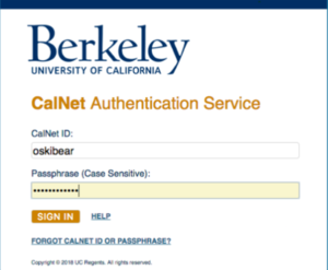 Sign in using your CalNet ID, Passphrase, and 2-step verification